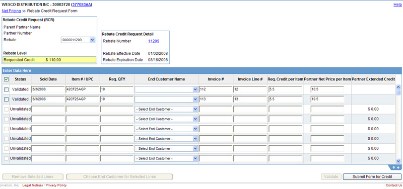 Rebate Credit Request Form